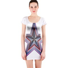 Star Abstract Geometric Art Short Sleeve Bodycon Dress