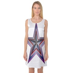 Star Abstract Geometric Art Sleeveless Satin Nightdress