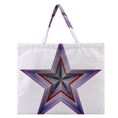 Star Abstract Geometric Art Zipper Large Tote Bag