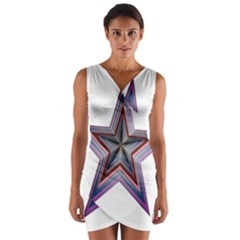 Star Abstract Geometric Art Wrap Front Bodycon Dress