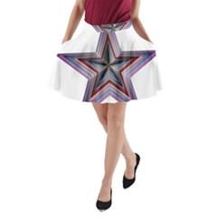 Star Abstract Geometric Art A Line Pocket Skirt