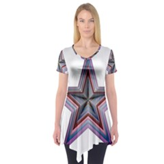 Star Abstract Geometric Art Short Sleeve Tunic