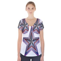 Star Abstract Geometric Art Short Sleeve Front Detail Top
