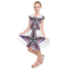 Star Abstract Geometric Art Kids  Short Sleeve Dress