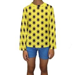Yellow Fractal In Kaleidoscope Kids  Long Sleeve Swimwear