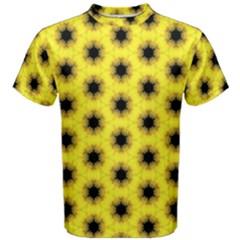 Yellow Fractal In Kaleidoscope Men s Cotton Tee