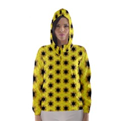 Yellow Fractal In Kaleidoscope Hooded Wind Breaker (women)