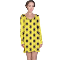 Yellow Fractal In Kaleidoscope Long Sleeve Nightdress