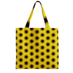 Yellow Fractal In Kaleidoscope Zipper Grocery Tote Bag
