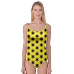 Yellow Fractal In Kaleidoscope Camisole Leotard