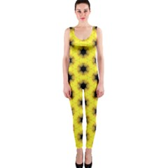 Yellow Fractal In Kaleidoscope Onepiece Catsuit