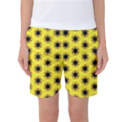 Yellow Fractal In Kaleidoscope Women s Basketball Shorts