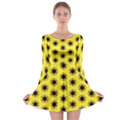 Yellow Fractal In Kaleidoscope Long Sleeve Skater Dress