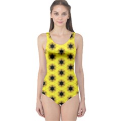 Yellow Fractal In Kaleidoscope One Piece Swimsuit