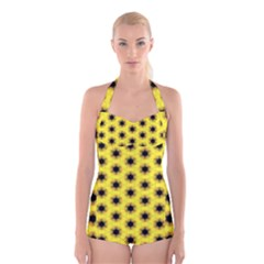 Yellow Fractal In Kaleidoscope Boyleg Halter Swimsuit