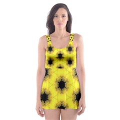Yellow Fractal In Kaleidoscope Skater Dress Swimsuit