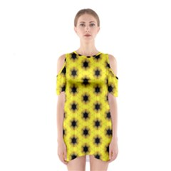 Yellow Fractal In Kaleidoscope Shoulder Cutout One Piece