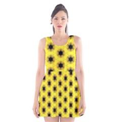 Yellow Fractal In Kaleidoscope Scoop Neck Skater Dress