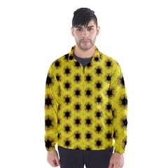 Yellow Fractal In Kaleidoscope Wind Breaker (men)