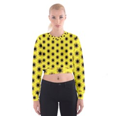 Yellow Fractal In Kaleidoscope Women s Cropped Sweatshirt