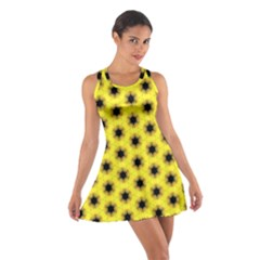 Yellow Fractal In Kaleidoscope Cotton Racerback Dress