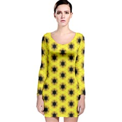 Yellow Fractal In Kaleidoscope Long Sleeve Velvet Bodycon Dress