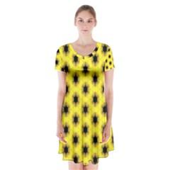 Yellow Fractal In Kaleidoscope Short Sleeve V-neck Flare Dress