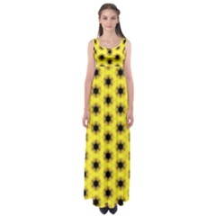 Yellow Fractal In Kaleidoscope Empire Waist Maxi Dress