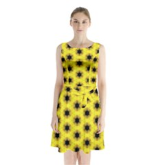 Yellow Fractal In Kaleidoscope Sleeveless Chiffon Waist Tie Dress