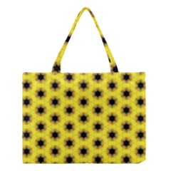 Yellow Fractal In Kaleidoscope Medium Tote Bag