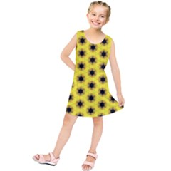 Yellow Fractal In Kaleidoscope Kids  Tunic Dress