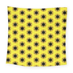Yellow Fractal In Kaleidoscope Square Tapestry (large)