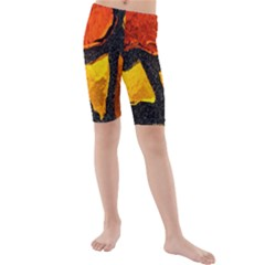 Colorful Glass Mosaic Art And Abstract Wall Background Kids  Mid Length Swim Shorts
