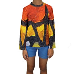 Colorful Glass Mosaic Art And Abstract Wall Background Kids  Long Sleeve Swimwear