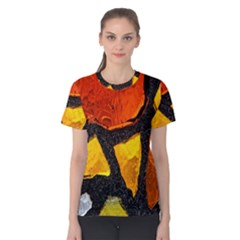 Colorful Glass Mosaic Art And Abstract Wall Background Women s Cotton Tee