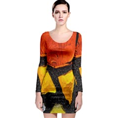 Colorful Glass Mosaic Art And Abstract Wall Background Long Sleeve Bodycon Dress