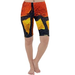 Colorful Glass Mosaic Art And Abstract Wall Background Cropped Leggings