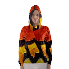 Colorful Glass Mosaic Art And Abstract Wall Background Hooded Wind Breaker (women)