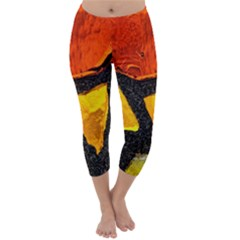 Colorful Glass Mosaic Art And Abstract Wall Background Capri Winter Leggings