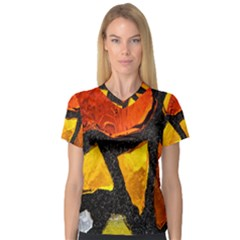 Colorful Glass Mosaic Art And Abstract Wall Background Women s V Neck Sport Mesh Tee
