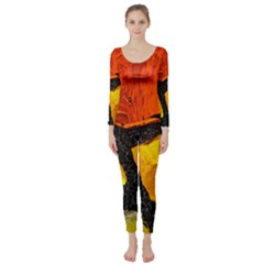 Colorful Glass Mosaic Art And Abstract Wall Background Long Sleeve Catsuit