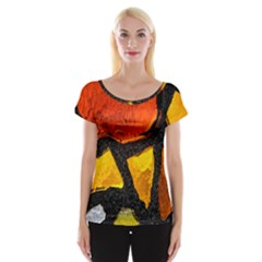 Colorful Glass Mosaic Art And Abstract Wall Background Women s Cap Sleeve Top
