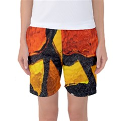 Colorful Glass Mosaic Art And Abstract Wall Background Women s Basketball Shorts