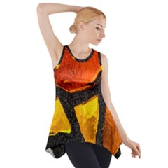 Colorful Glass Mosaic Art And Abstract Wall Background Side Drop Tank Tunic