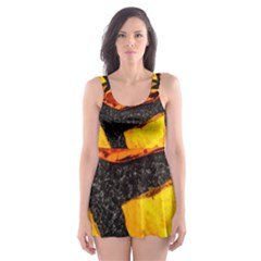 Colorful Glass Mosaic Art And Abstract Wall Background Skater Dress Swimsuit