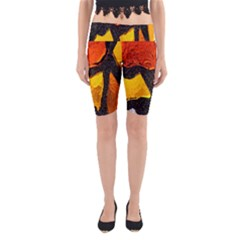 Colorful Glass Mosaic Art And Abstract Wall Background Yoga Cropped Leggings