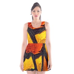 Colorful Glass Mosaic Art And Abstract Wall Background Scoop Neck Skater Dress