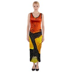 Colorful Glass Mosaic Art And Abstract Wall Background Fitted Maxi Dress