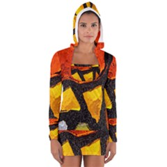 Colorful Glass Mosaic Art And Abstract Wall Background Women s Long Sleeve Hooded T Shirt