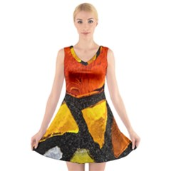 Colorful Glass Mosaic Art And Abstract Wall Background V-Neck Sleeveless Skater Dress